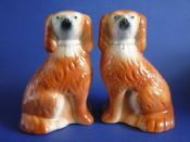 Fine Pair of 19th Century Tan Staffordshire Pottery Spaniels c1890 (Sold)